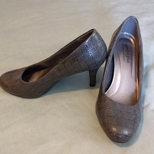 Grey Reptile Embossed Pumps